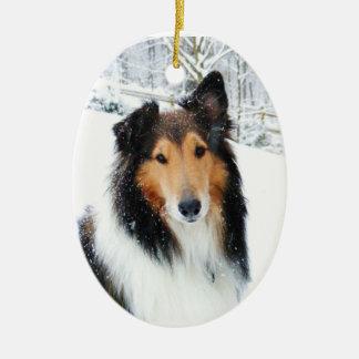 Snow Collie Christmas Ornament