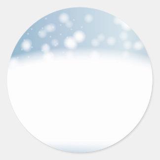 Snow Copy Space Classic Round Sticker