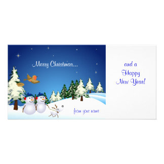 Snow Couple and Dog Card