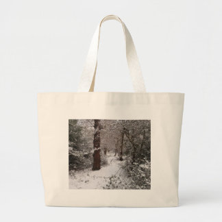 Snow Covered Ancient Woodland Tote Bags