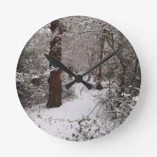 Snow Covered Ancient Woodland Round Clock