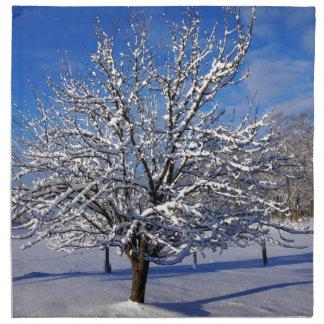 Snow covered Apple tree Napkin