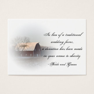 Snow Covered Barn Winter Wedding Charity Favor