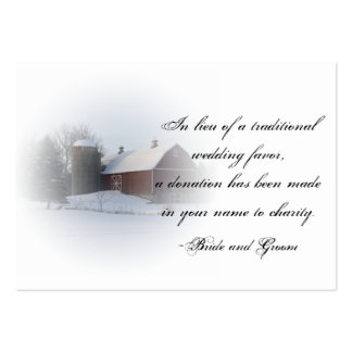 Snow Covered Barn Winter Wedding Charity Favor Pack Of Chubby Business Cards