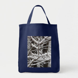 Snow-covered Branches Grocery Tote Bag