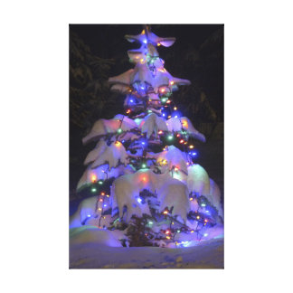 Snow Covered Brightly Lit Christmas Tree Canvas Prints