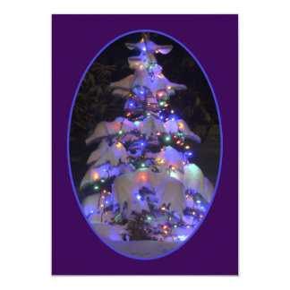 """Snow Covered Brightly Lit Christmas Tree 5"""" X 7"""" Invitation Card"""
