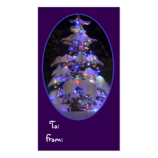 Snow Covered Brightly Lit Christmas Tree Pack Of Standard Business Cards