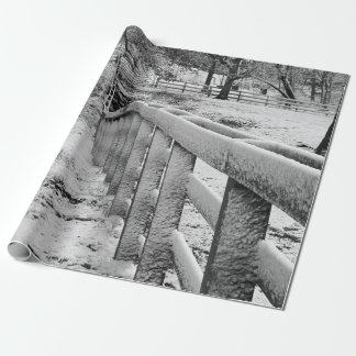 Snow Covered Cattle Fence Black & White Photograpy Wrapping Paper