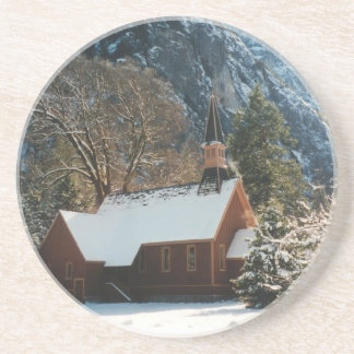 Snow Covered Chapel Drink Coaster