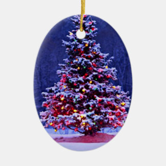 Snow Covered Christmas Tree Ceramic Ornament