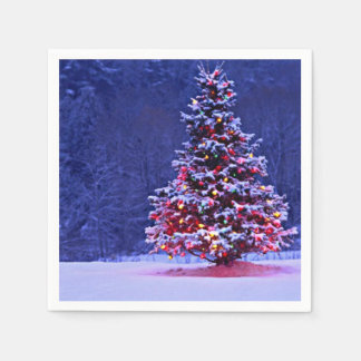 Snow Covered Christmas Tree Disposable Napkins