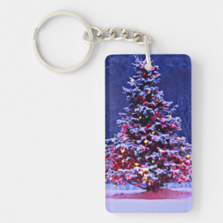 Snow Covered Christmas Tree Key Ring