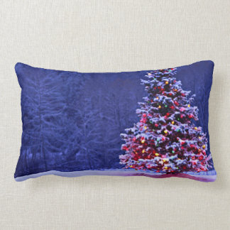 Snow Covered Christmas Tree Lumbar Cushion