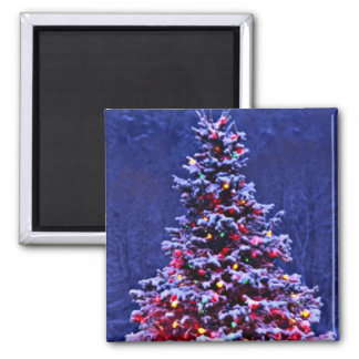 Snow Covered Christmas Tree Magnet