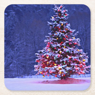Snow Covered Christmas Tree Square Paper Coaster