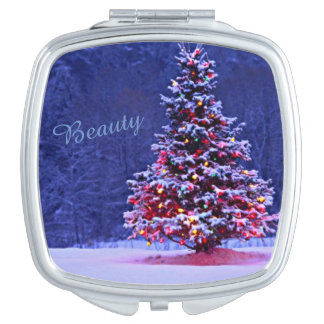 Snow Covered Christmas Tree Travel Mirrors