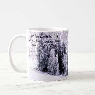 Snow covered coffee mug