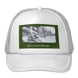 Snow-Covered Evergreen Trees Trucker Hat