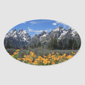 Snow Covered Grand Teton Range with Yellow Flowers Oval Sticker