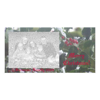 Snow Covered Holly Photo Card Template