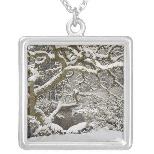 Snow-covered Japanese maple 2 Personalized Necklace