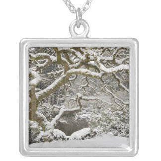 Snow-covered Japanese maple 2 Square Pendant Necklace