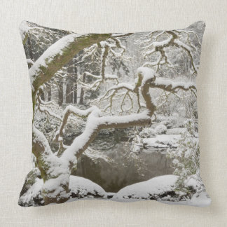 Snow-covered Japanese maple Pillows