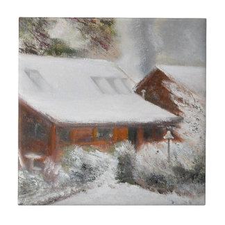 Snow Covered Lincoln Cabin Ceramic Tile