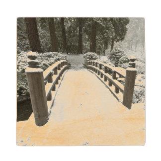 Snow-covered moon bridge, Japanese Garden Maple Wood Coaster
