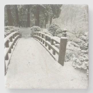 Snow-covered moon bridge, Japanese Garden Stone Beverage Coaster