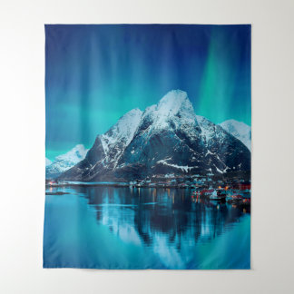 Snow Covered Mountain By River Tapestry