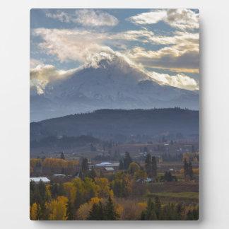 Snow covered Mt Hood in Oregon Fall season Plaque
