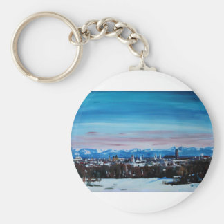 Snow Covered Munich Winter Panorama With Alps Key Chains