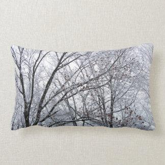 Snow-covered Oak Tree Lumbar Pillow