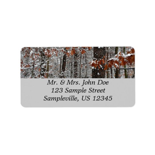 Snow Covered Oak Trees Winter Nature Photography Address Label