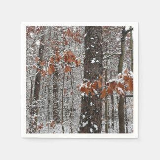 Snow Covered Oak Trees Winter Nature Photography Paper Napkin