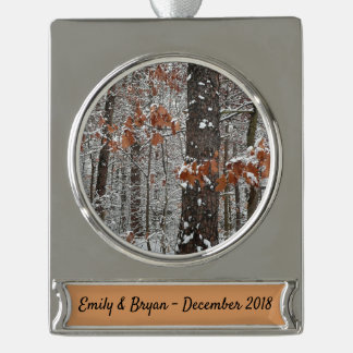 Snow Covered Oak Trees Winter Nature Photography Silver Plated Banner Ornament