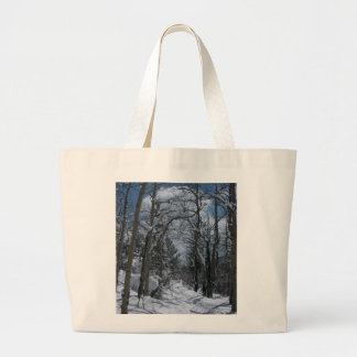 Snow covered path through the Rocky Mountains Jumbo Tote Bag