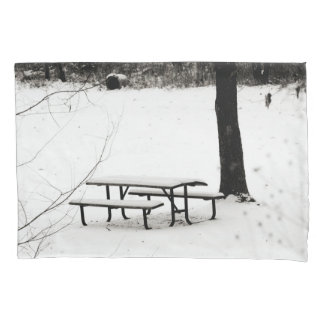 Snow Covered Picnic Table Pillow Case