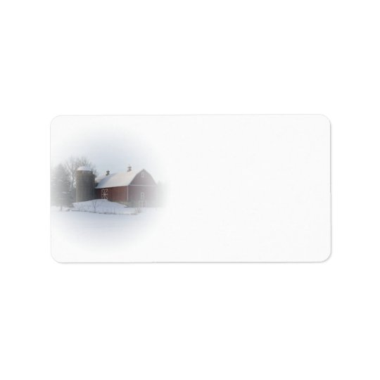 Snow Covered Red Country Barn Address Label