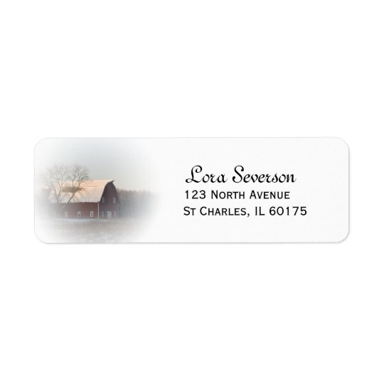 Snow Covered Red Country Barn Return Address Return Address Label