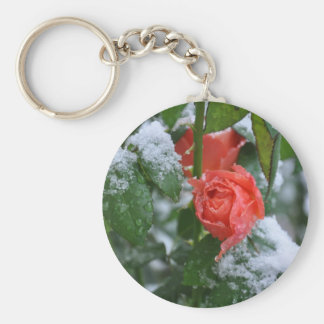 Snow covered rose basic round button key ring