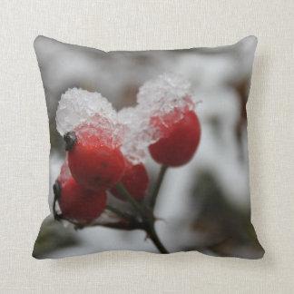 Snow-covered Rose Hip Throw Pillow