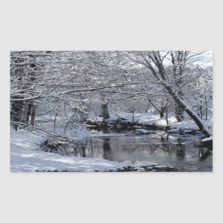 Snow Covered Saco River Glossy Stickers Set