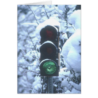 snow covered streetlight greeting card