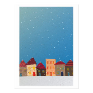 Snow-covered town postcard