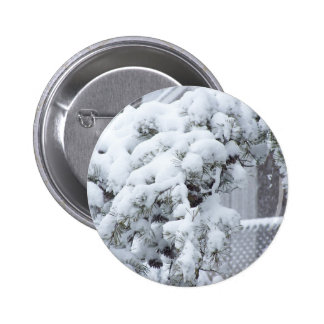 Snow Covered Tree Button