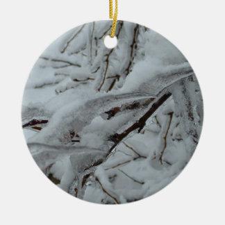 Snow Covered Tree Round Ceramic Decoration