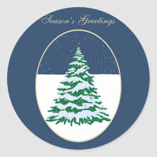 Snow Covered Tree Stickers